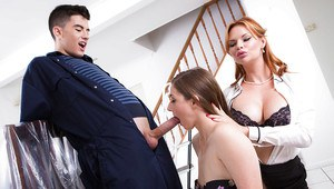 Young girl gives her mom's boyfriend a blowjob while mom watches