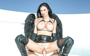 Buxom fetish model Jasmine Jae fingers her pussy while being ass fucked