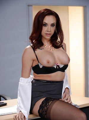 Sexy secretary Chanel Preston flashing upskirt panties and thigh