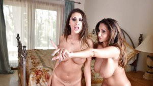 Hot moms August Ames and Ava Addams kiss and lick each others nipples