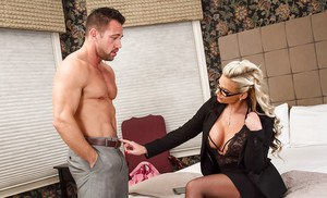 Blonde MILF Phoenix Marie rides cock and takes cumshot on face