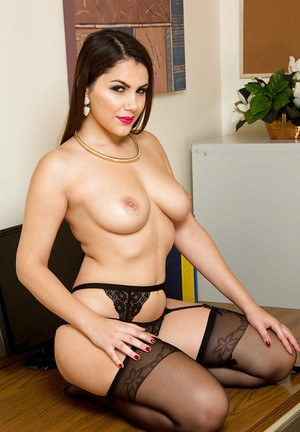 European babe Valentina Nappi stripping down to underwear at work
