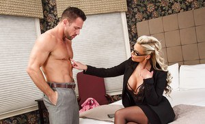 Tall and busty MILF Phoenix Marie blows cock for jizz in mouth