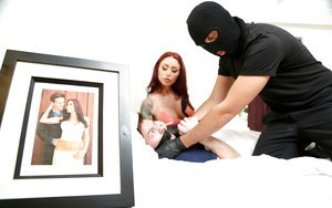 Masked invader drops a load of jizz in the mouth of Monique Alexander