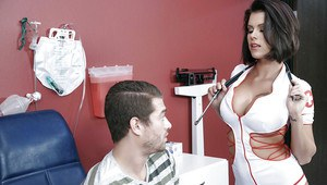 Naughty nurse Peta Jensen takes a creampie on shaved pussy from patient
