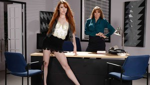 Older and younger secretaries Darla Crane and Gwen Stark strip at work