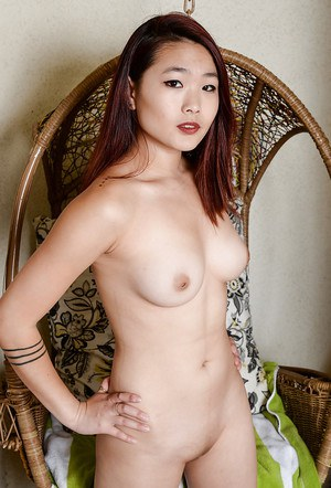 Kinky Asian with a foot fetish Lea Hart bending over and spreading