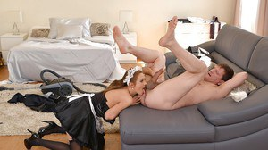Beautiful redhead maid Dominica Phoenix sucking a dick in her uniform