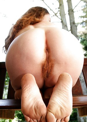 Hairy redhead mature Ana Molly showing off her wet bushy cunt