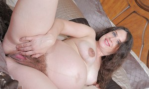 Hairy pregnant MILF Angela getting her asshole licked and dicked