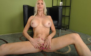 Horny blonde MILF Cameo rubbing her clit and spreading her pussy