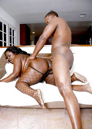 Fat Ebony pornstar Kitten Black riding a big dick and choking on it