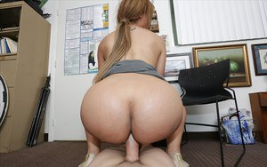 Cock worshiping office slut Samantha Bell giving a big cock some head