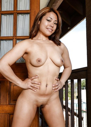 Kinky mature Asian gal Laci Hurst spreading her tight pussy