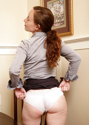 Petite redhead Ana Molly flashing upskirt white panties and beaver