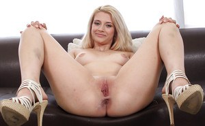 Amateur babe Aubrey Gold flashing white panties for casting couch debut