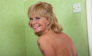 Blonde granny Cathy Oakley modelling sexy lingerie from Victoria Secrets