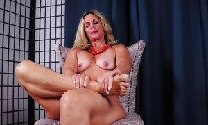 Experienced blonde broad Sydney and her hard nipples appear for close ups