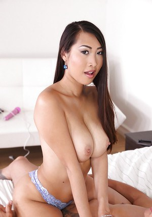 Asian first timer Sharon Lee rides white cock for cumshot on big tits