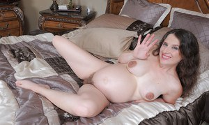 Pregnant first timer Angela licking dick and taking hairy pussy creampie