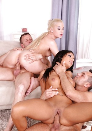 Nasty Euro sluts Olivia, Choky Ice and Anastasia swapping cum