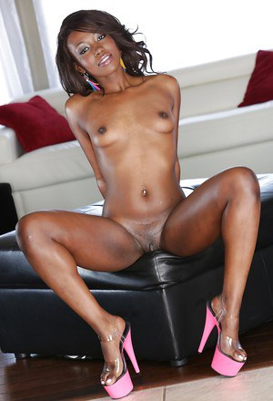Beautiful ebony solo model Skyler Nicole posing non-nude in bikini