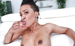 Ebony alt chick Ajaa XXX giving a big white penis a blowjob