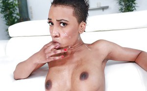 Black alt chick Ajaa XXX and her Mohawk cut taking white doggystyle dick