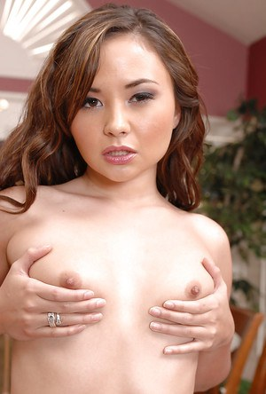 Skinny Asian first timer Kita Zen playing with her exposed tiny tits
