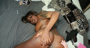 Busty black first timer Aries Crush taking white cock in shaved pussy