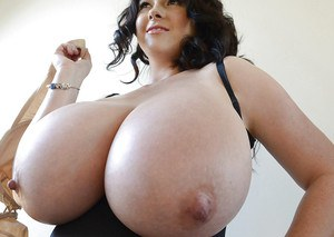 Buxom babe Rachel Aldana exposing huge knockers and long nipples