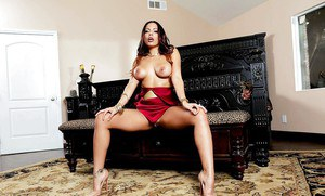 Busty Latina MILF Luna Star slowly stripping naked in high heels