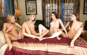 Hot chicks Ariana Marie, Jenna J Ross, Kota Skye and Alina West daisy chain