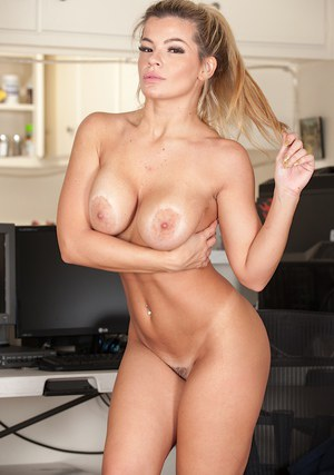 Blonde secretary Adriana Sephora bares her big first timer tits at work