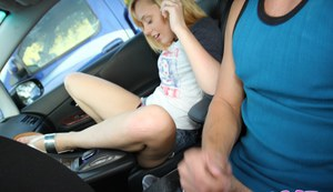 Cute amateur coed Lucy Tyler masturbating shaved pussy in car