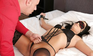 Sexy young babe Anna Rose bound to bed for kinky BDSM sex games by hubby