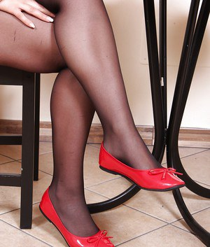 Non nude pics of foot and nylon model Petra posing in ballerina slippers