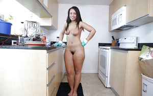 Big bottomed Latina housewife Ava Sanchez exposing hairy twat in kitchen