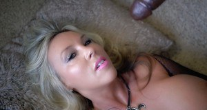 Beautiful blond housewife Sandra Otterson taking fake black cock in asshole