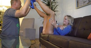 Slutty blonde wife Sandra Otterson spreads her legs for oral sex from hubby