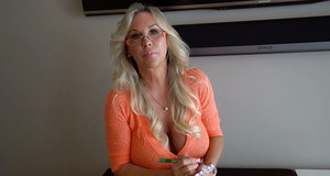Glasses adorned housewife Sandra Otterson unleashing huge natural tits