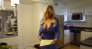 Leggy blonde housewife Sandra Otterson baring white thong covered ass