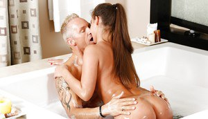 Young Euro hottie Amirah Adara getting fucked by an older man