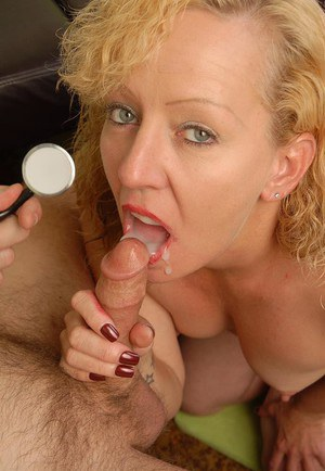 Mature blonde woman Heidi is stripped naked by doctor for blowjob