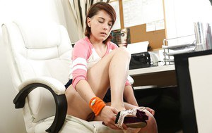 Teen secretary Anabelle flashing upskirt underwear in the office