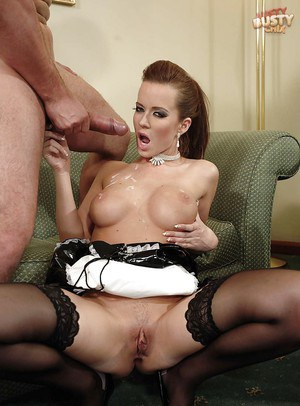 Busty Euro maid Cindy dollar taking long cock in shaved vagina