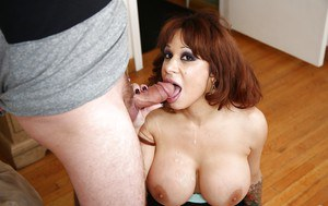 Big boobed mature MILF Alyssa Lyn tit fucks cock before deepthroating it