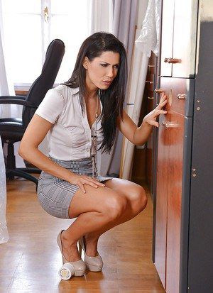 Hot brunette secretary Alexa Tomas sucking gloryhole cock at work