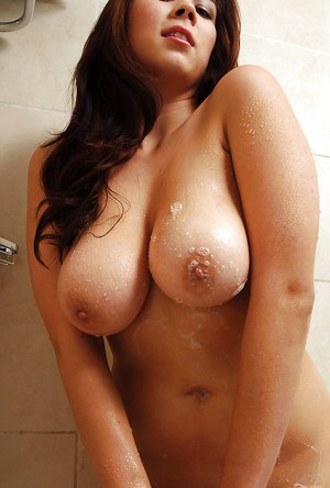 Pretty Asian amateur Mai exposing large natural juggs in shower