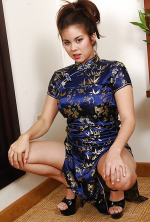 Sexy Asian amateur Mai spreading legs for close ups of shaved pussy